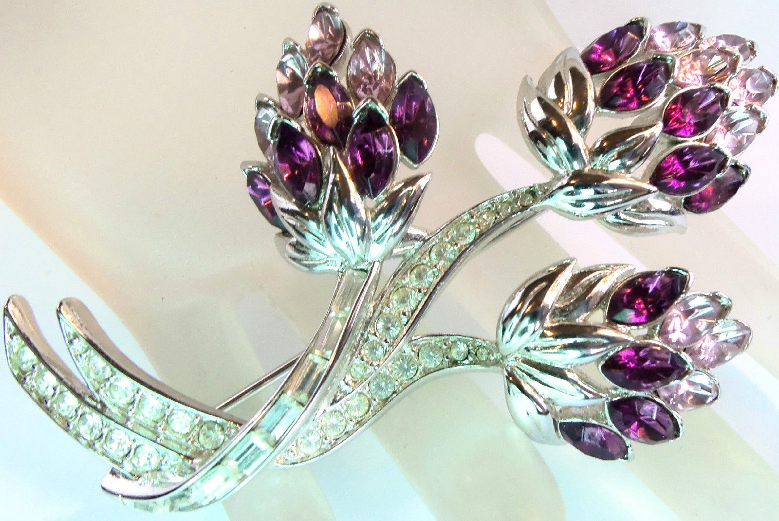 Nolan Miller Paved Amethyst Lilac Crystal Flower Brooch