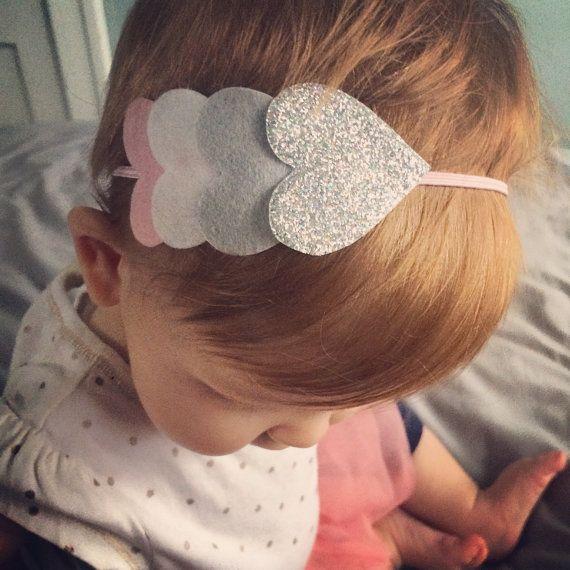 Baby Rosa con Fiocco Glitter SLIM Alice Band Fascia per Capelli per Ragazze
