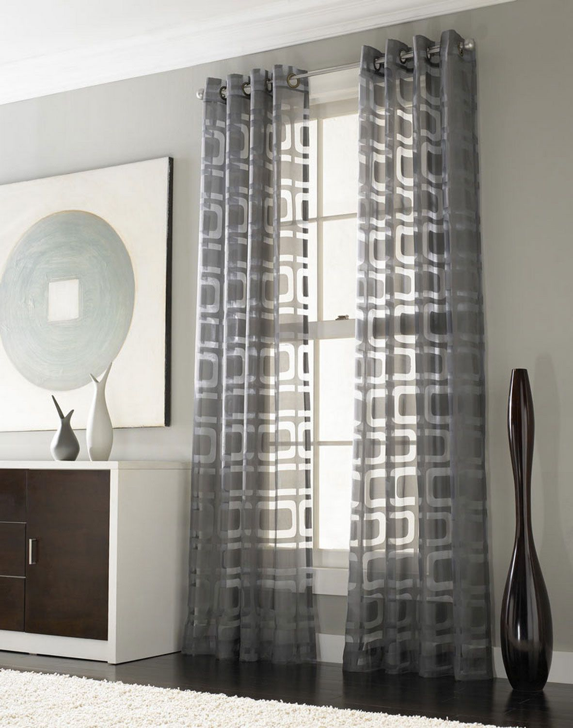 Silver Window Curtains | Interior, : Captivating Look Of High Ceiling Window  Treatments Using A