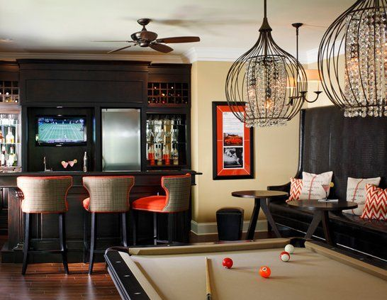 Game Room/ Bar, Unique Lighting Over The Pool Table.