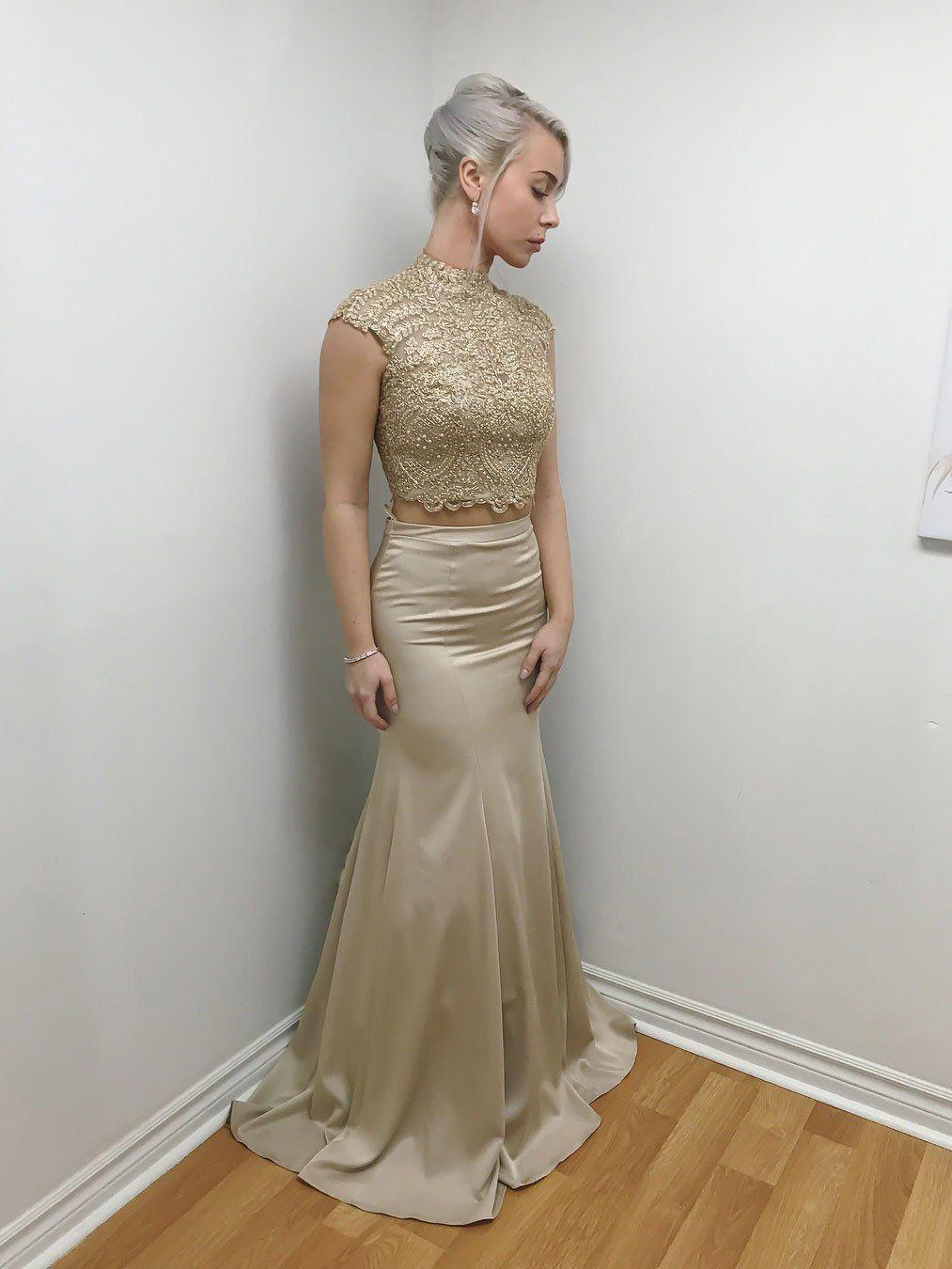 Romantic satin highneck neckline pieces mermaid prom dresses with