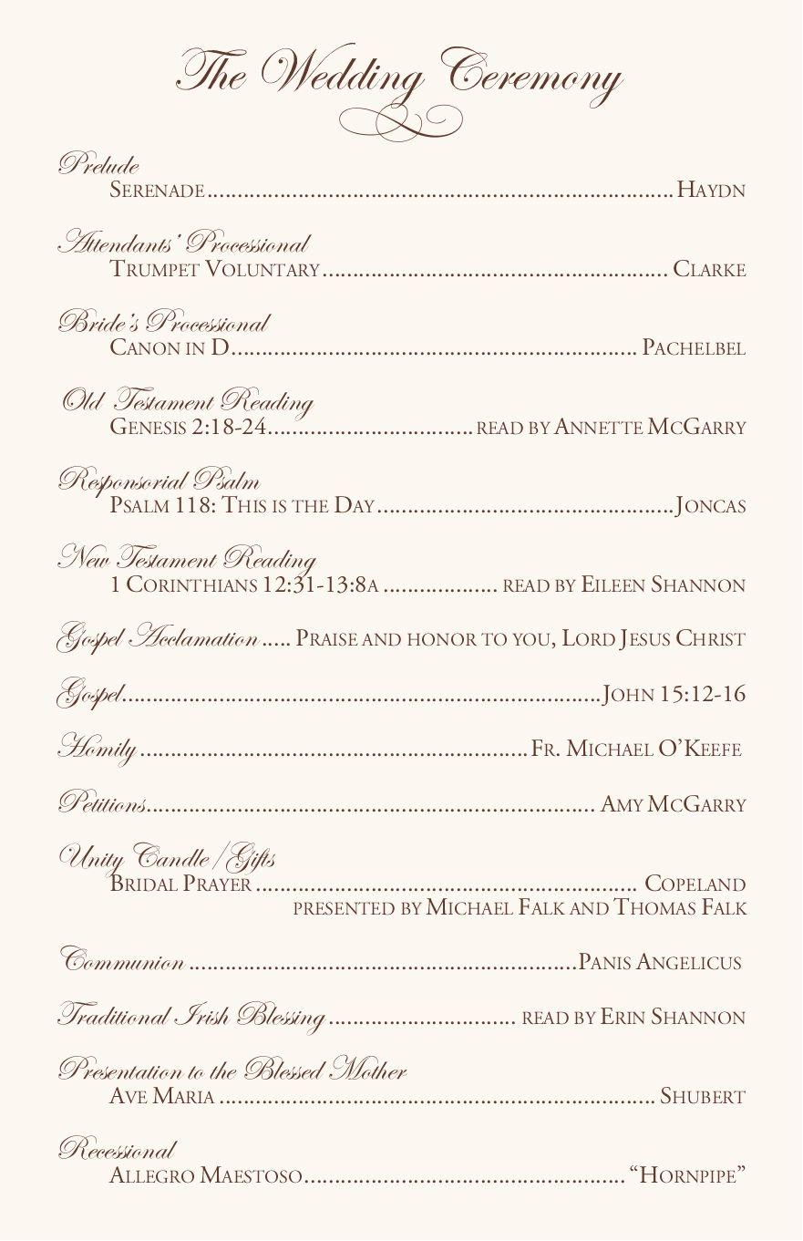catholic wedding vows program samples Wedding ceremony