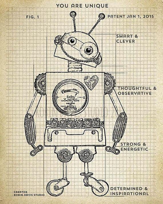 Retro robot blueprint printable by robin davis studio this is a robot malvernweather Choice Image