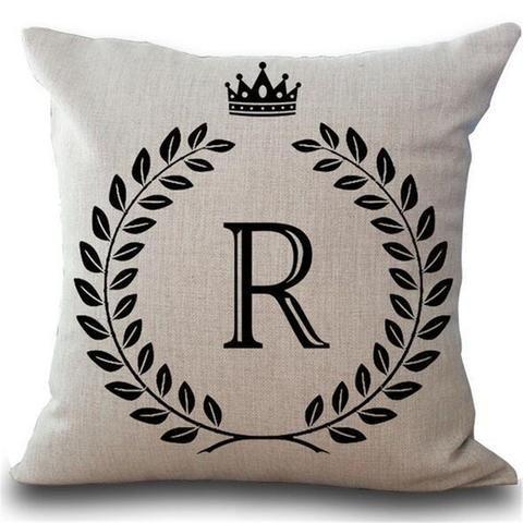 Crown Letter 43 43cm Cotton Linen Pillow Cushion Cover Letter Throw Pillows Decorative Pillow Cases Linen Throw Pillow