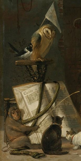 Cornelis Saftleven A CONCERT OF CATS, OWLS, A MAGPIE, AND A MONKEY IN A BARN
