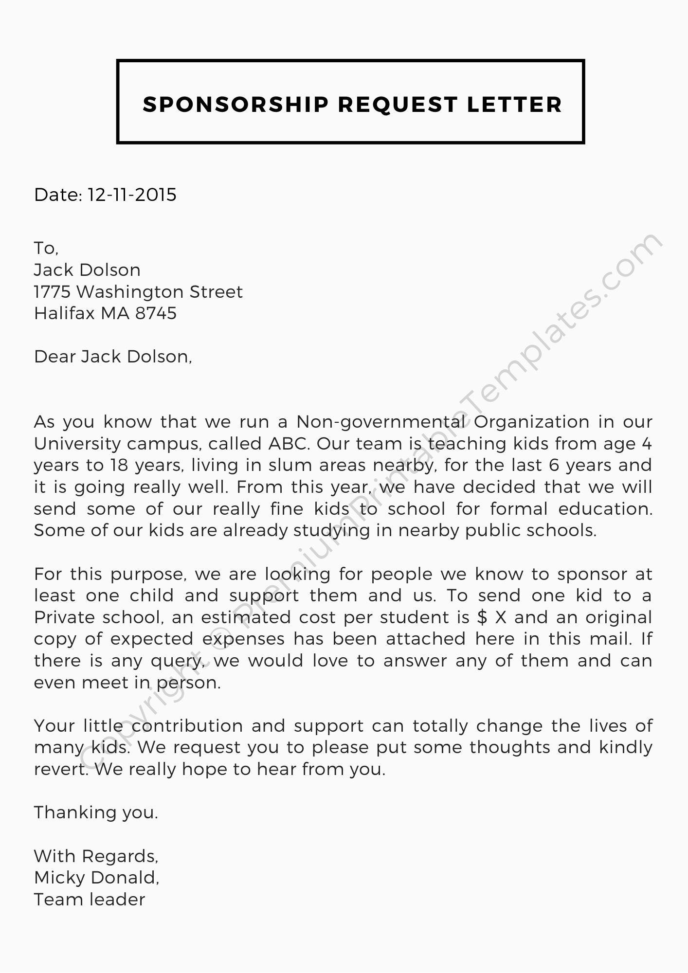 Sponsorship Request Letter Pack Of 5 Premium Printable Templates Lettering Template Printable Sponsorship