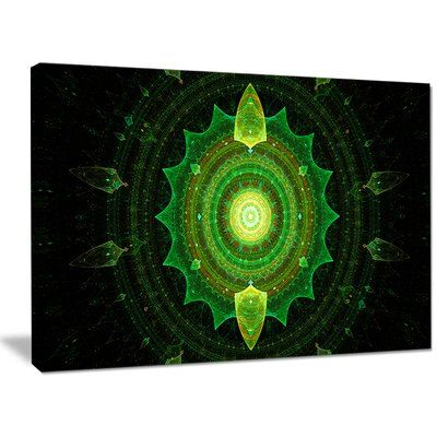 "DesignArt 'Cabalistic Green Fractal Sphere' Graphic Art on Wrapped Canvas Size: 30"" H x 40"" W x 1"" D"