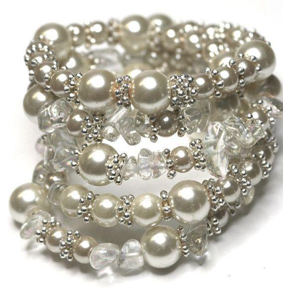 Memory Wire Wrap Bracelet Beaded Cream White Silver