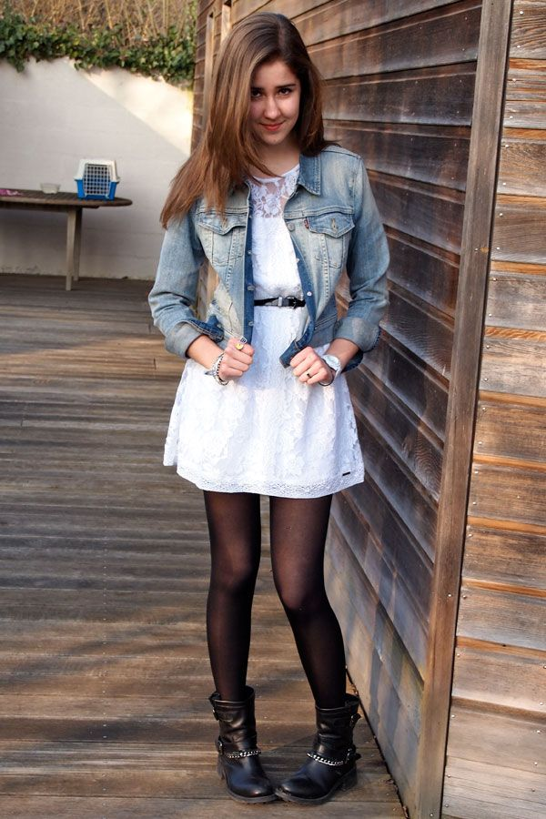 Ankle boots and cute white lace dress