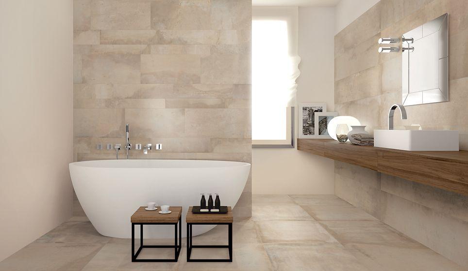 Badkamer Tegels Kleuren : Lichte badkamer met beige tinten en vloer en wandtegels met kleur