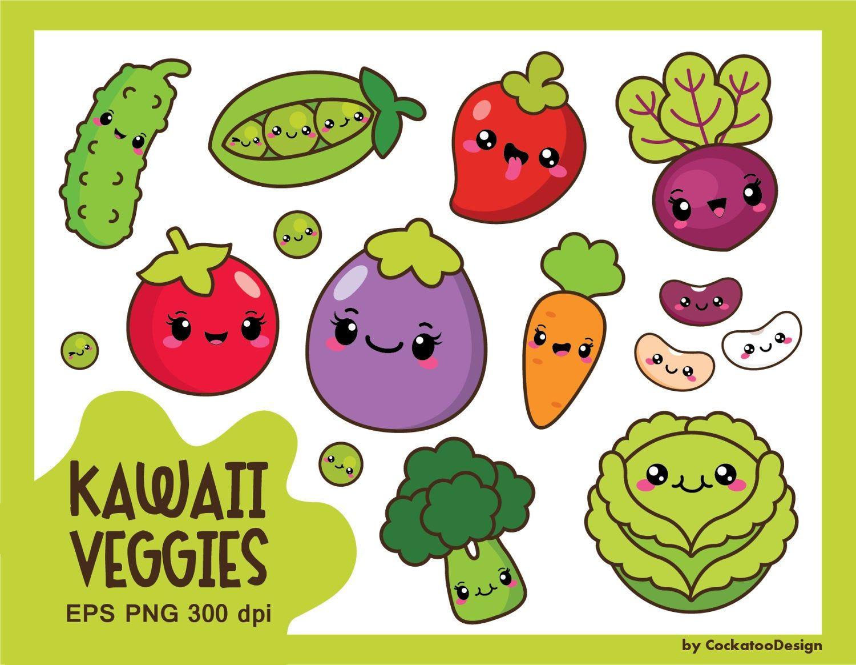 Kawaii Vegetables Clipart Kawaii Veggies Clipart Healthy Etsy In 2021 Cute Food Drawings Kawaii Fruit Vegetable Drawing