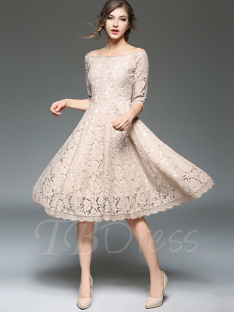 12c82eadb96 Elegant Half Sleeve Plain Women s Lace Dress - m.tbdress.com