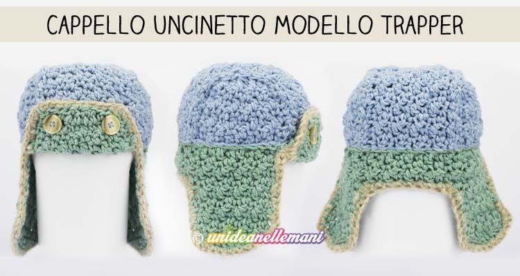 Tutorial con schema e spiegazioni per lavorare un bel cappello  all uncinetto in lana con paraorecchie per l inverno. Modello adatto ai  bambini e adulti. 12aa58bd970d