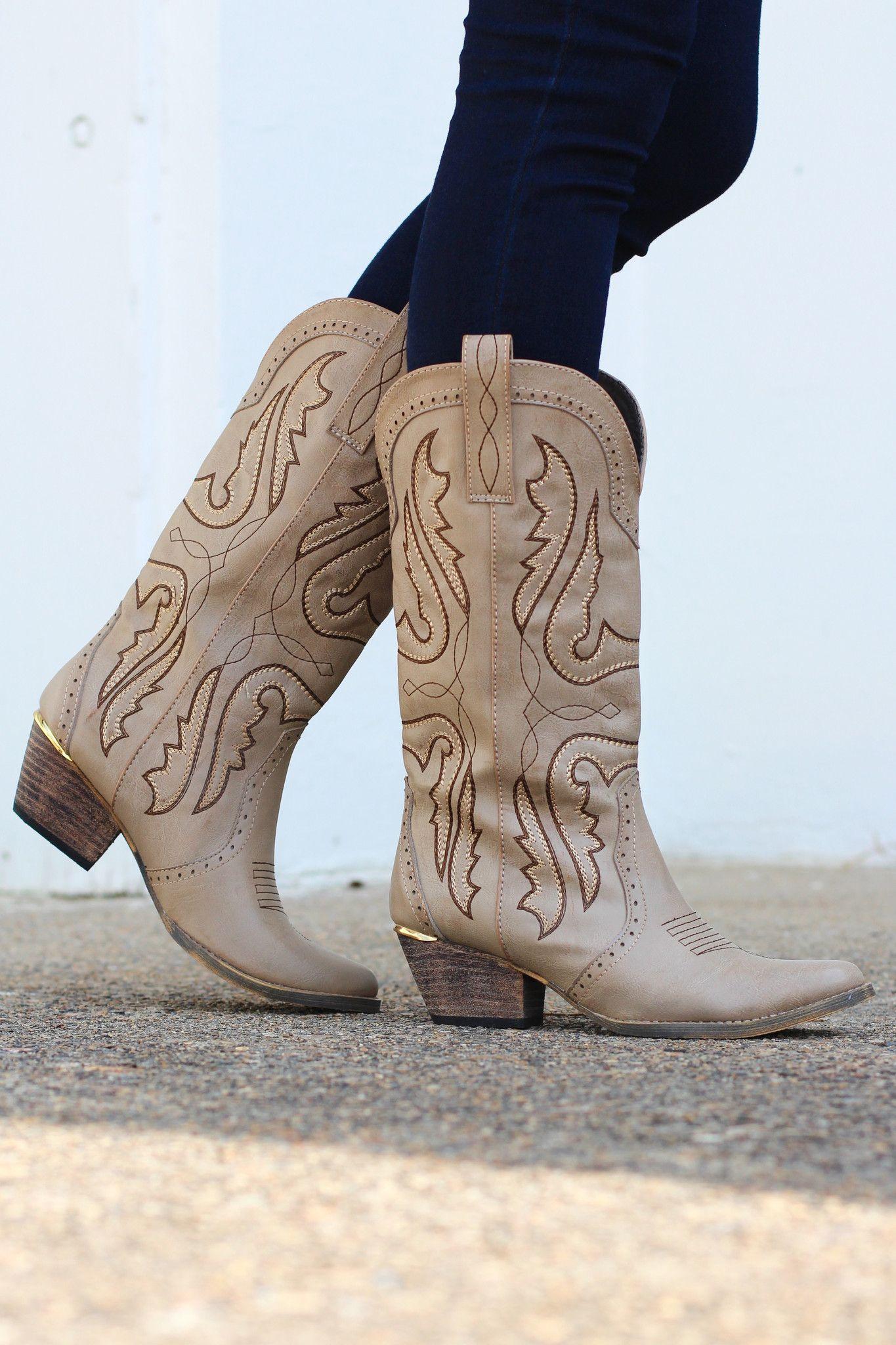 65710b6172c Very Volatile: Raspy Cowgirl Boots {Stone} | Footwear | Cowgirl ...