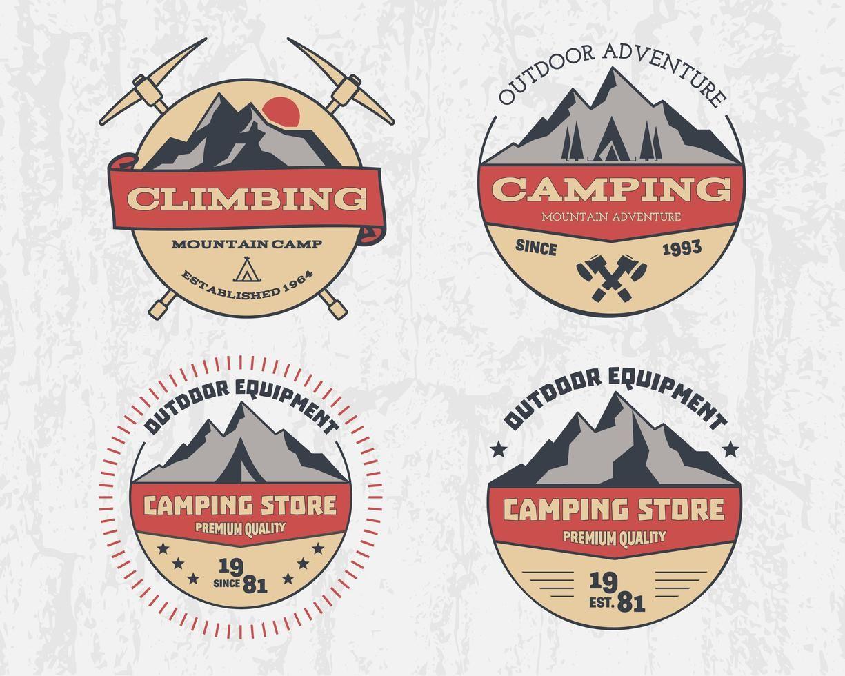 Set Of Retro Color Outdoor Camping Adventure And Mountain Climbing Hiking Badge Logo Emblem Label Vintage Design S In 2020 Retro Color Outdoor Camping Badge Logo