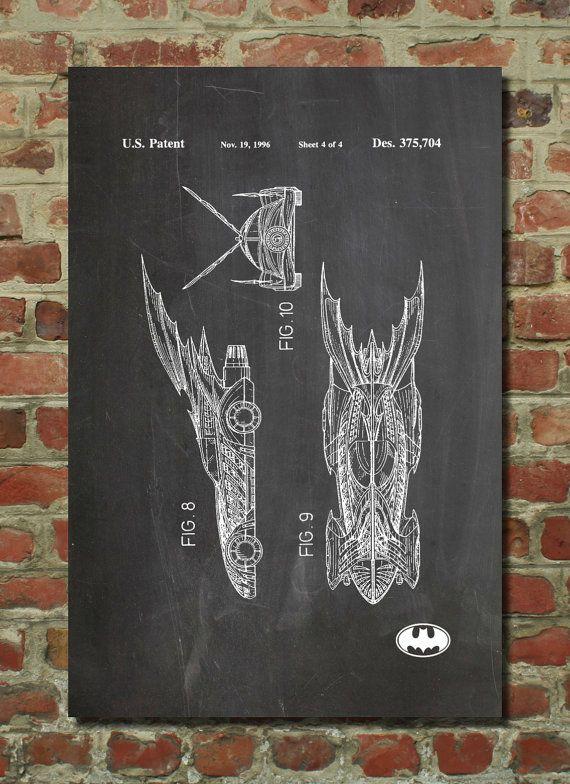Batman Batmobile Patent Wall Art Poster This patent poster is ...