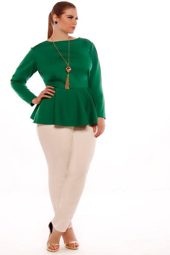 51d2424832f3b9 JIBRI Plus Size Peplum Top- Solid   Skirts, shirts etc   Moda tallas ...