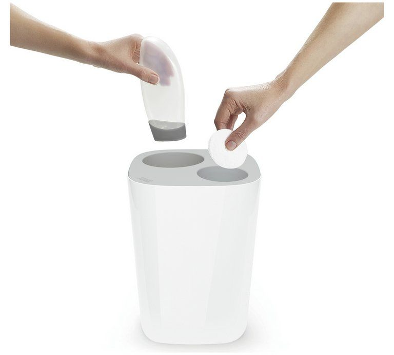 Buy Joseph Joseph 8 Litre Waste Separation Bathroom Bin Grey Bathroom Bins Bathroom Bin Joseph Joseph Recycler