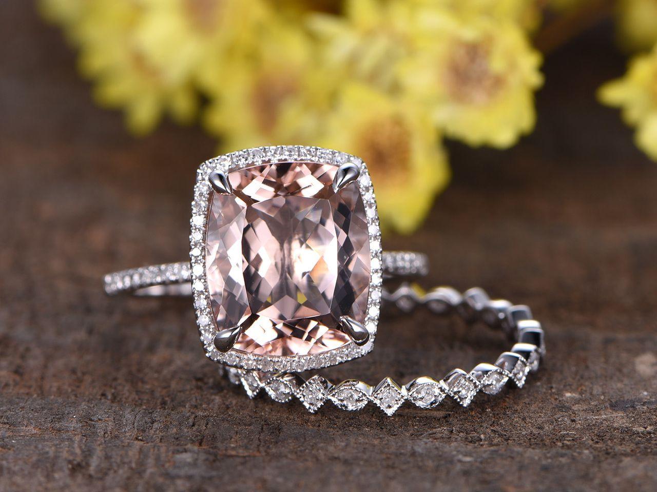 5 Carat Morganite Bridal Set 14k White Gold Diamond Wedding Ring Pink Morganite Engagement Ring Morganite Engagement Ring Set White Gold Diamond Wedding Rings