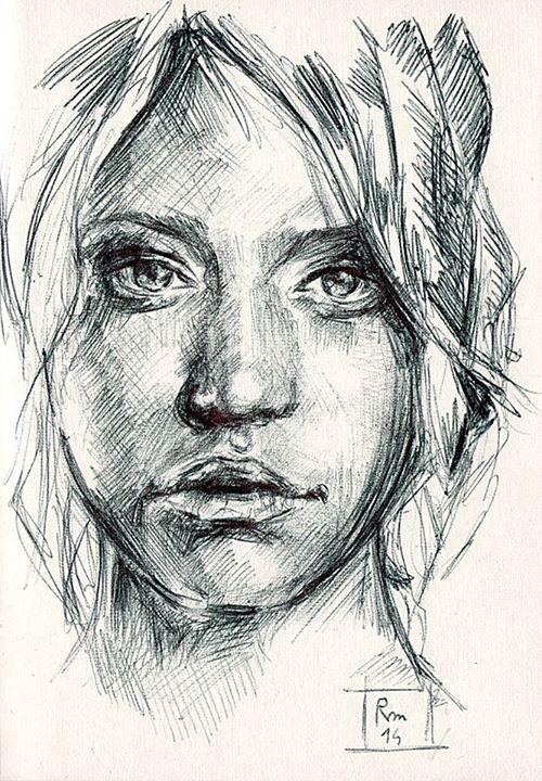 Riccardo Martinelli - Volto - ballpoint pen | Beautiful ...