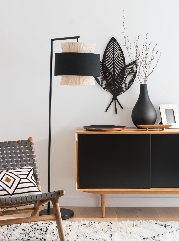 Deco Murale Feuilles De Palmier En Metal Noir 44x75 Maisons Du Monde Black Floor Lamp Midcentury Interior Design Midcentury Interior