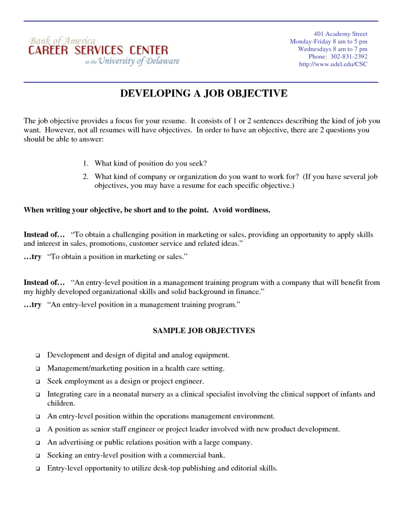 General Objectives For Resumes Samples Marketing Resume Objective Statements Resumes Design