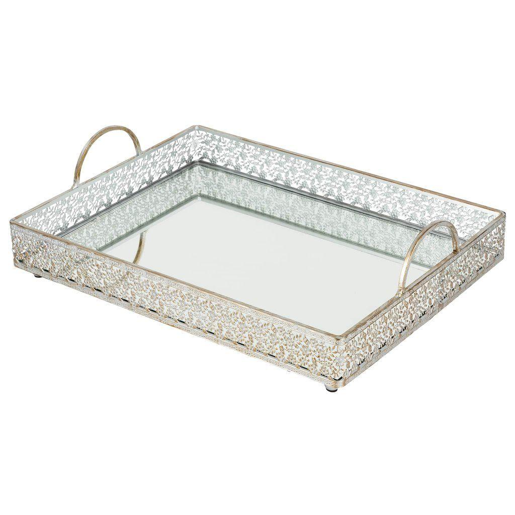 Large Decorative Serving Trays New Vintage Large Rectangular Metal Mirrortop Serving Tray Silver Design Ideas