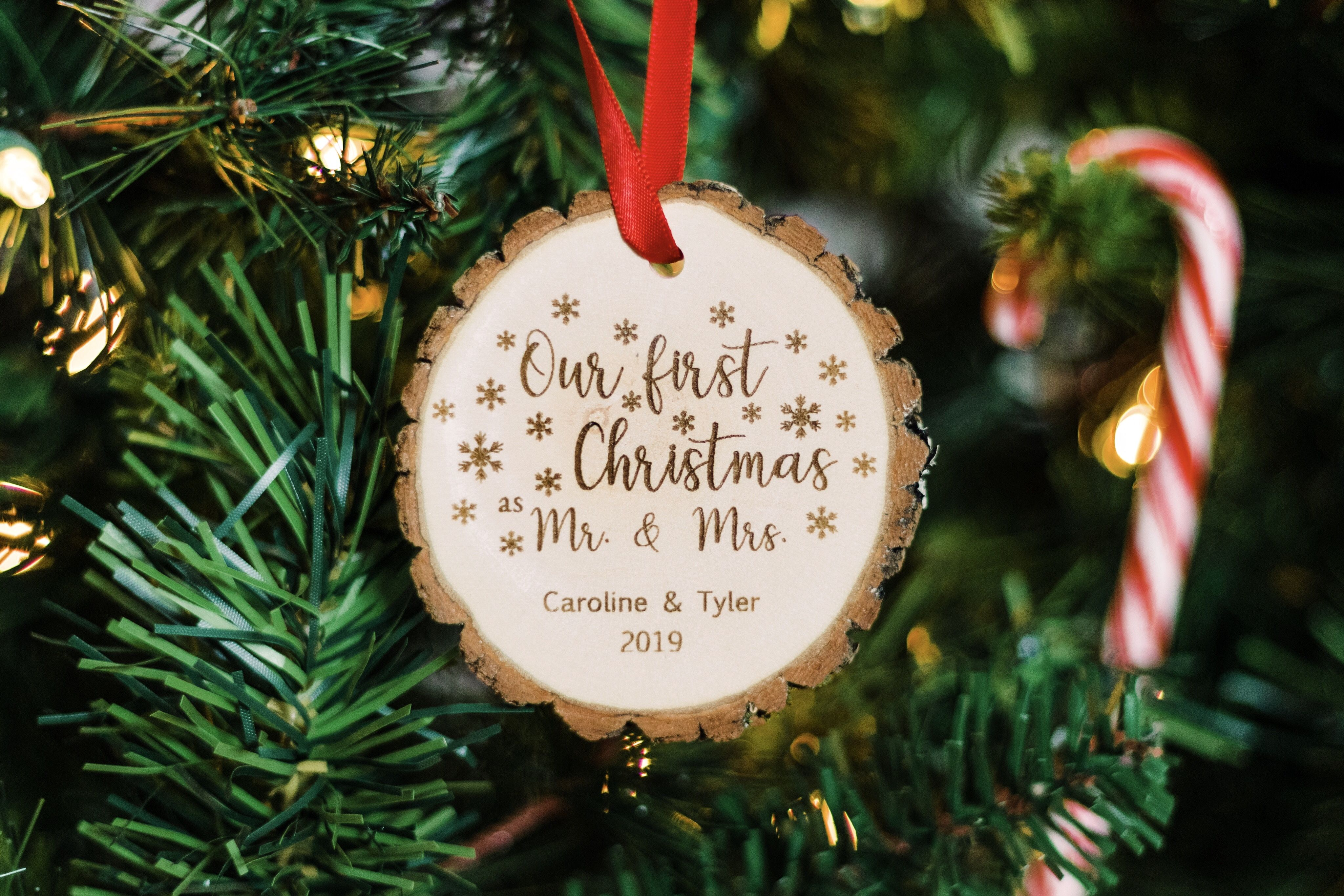 Real Newlywed Wood Slice Christmas Ornament Customized To Your Preference Personalized Christmas Decor Christmas Ornaments Newlywed Christmas Ornament