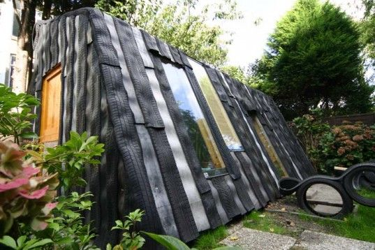 maisongomme a funky garden office and shed made from recycled car tires
