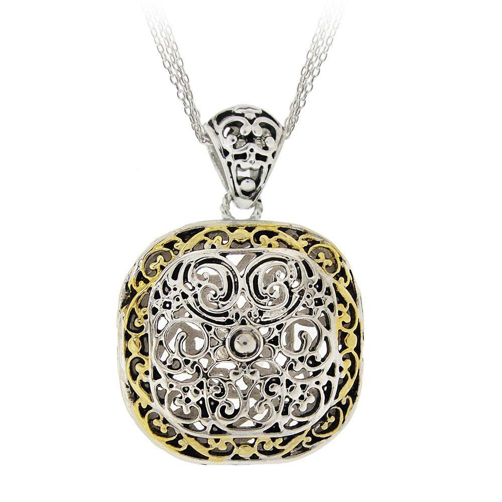 Mondevio Brass Square-filigree Women's Necklace with Rolo Chain