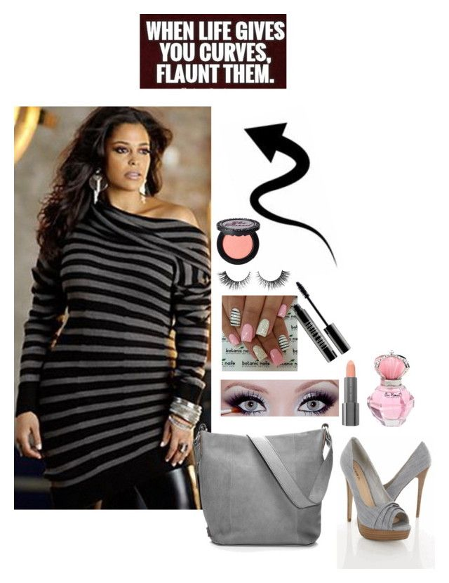 """""""curves"""" by mizery4u ❤ liked on Polyvore featuring Ellington, Easy Spirit, Lord & Berry, Rimini, Too Faced Cosmetics, black, stripes, grey, plussize and curves"""