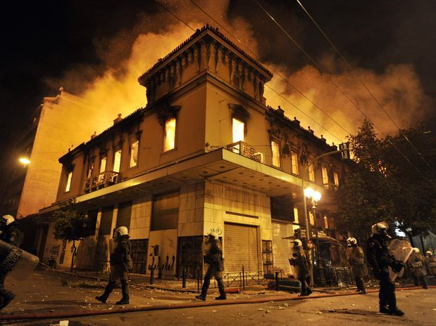 Greece fed up !!!  But this is not the way...  Night 12 Feb 2012