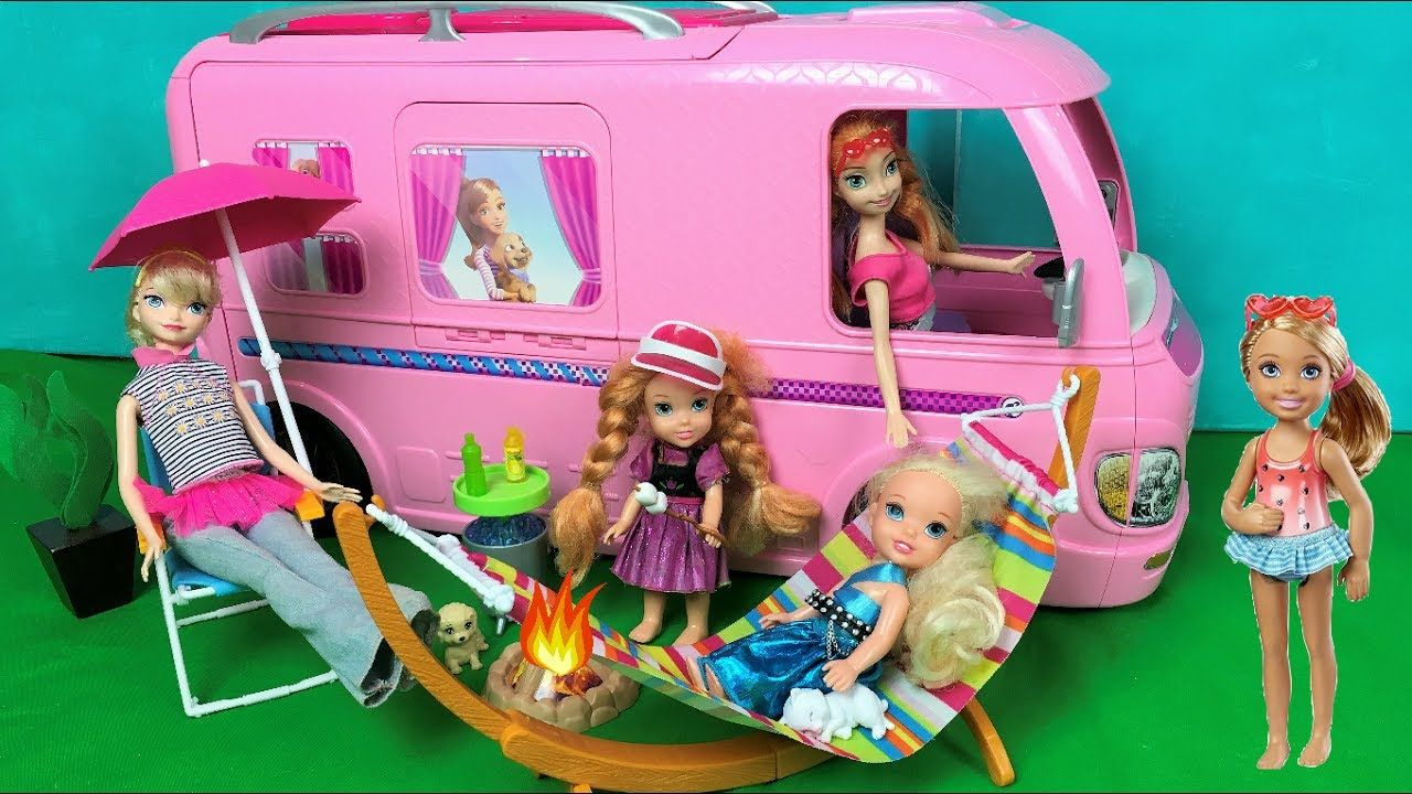 Anna And Elsa Toddlers Camping Pool Party Barbie Glam Camper Van Mornin Baby Doll Nursery Barbie Camper Camping With Toddlers