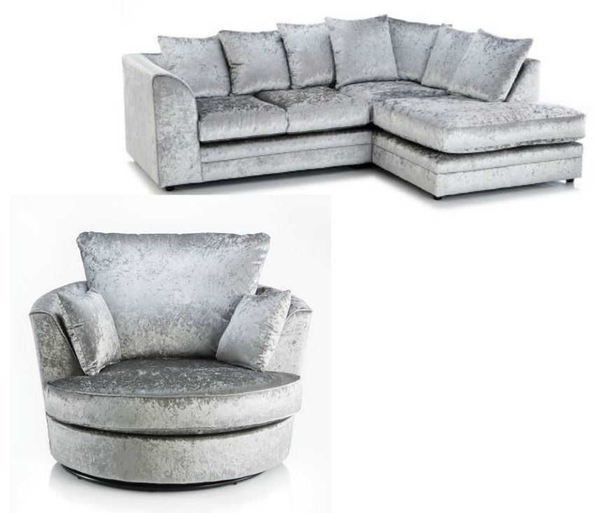 New Luxury Silver Crushed Velvet Byron Corner Sofa Rhf Swivel Cuddle Chair Corner Sofa And Swivel Chair Grey Corner Sofa Corner Sofa And Cuddle Chair