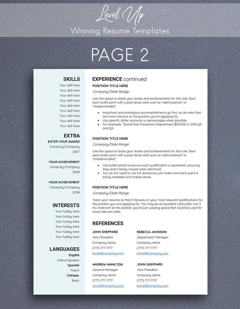 Pin on Executive resume template