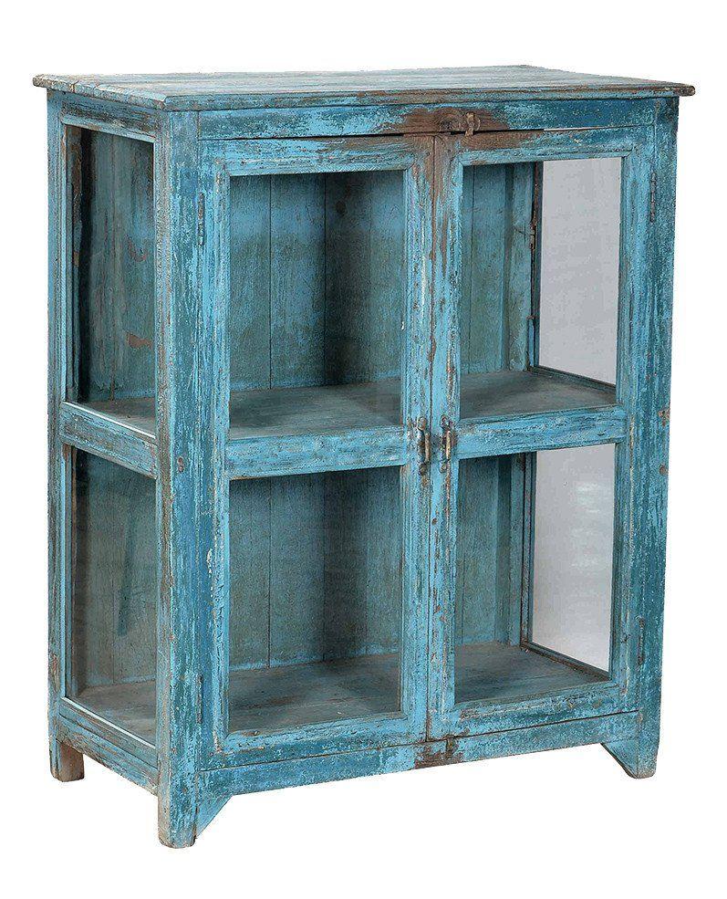 Turquoise Vintage Glass Cabinet//Buffet Vitré Ancien Turquoise
