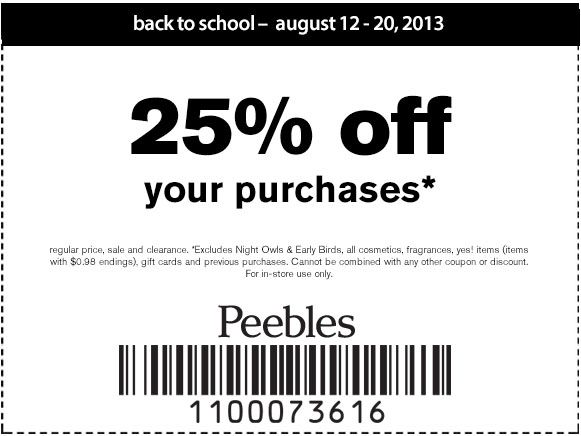 Peebles 25 Off Printable Coupon Printable Coupons Clothing Coupons Coupons