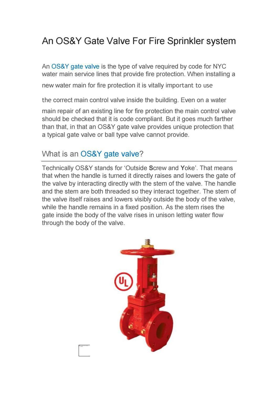 Os Y Gate Valve Gate Valve Fire Hydrant System Fire Sprinkler System