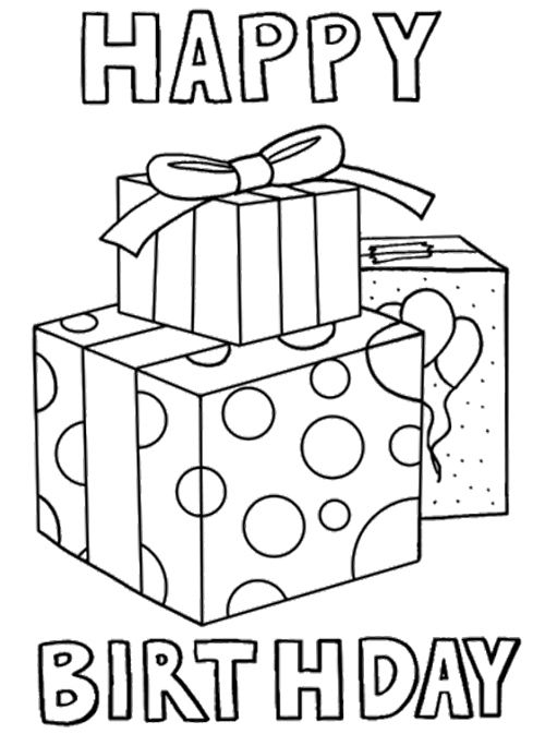 Gift Birthday Cards Coloring Page With Images Happy Birthday