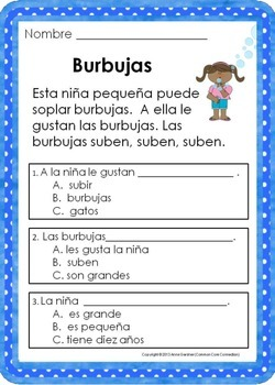 This Is The Second Set In A Series Of Spanish Reading Comprehension Pages Designed To Help Students Develop Skills Early Process