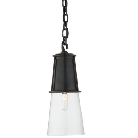 Blaese Pendant in Bronze | Lighting Connection #lightingconnection #affordablelighting #modernlighting #kitchenlighting #darkhardware #kitchenmakeover #pendantlighting #transitionallighting #clearglass