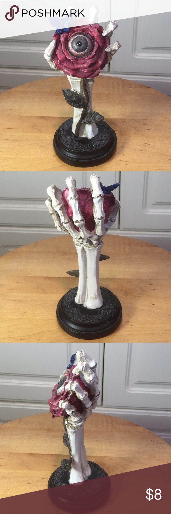 NWT 3D Skeleton hand & rose with eye sculpture Hand