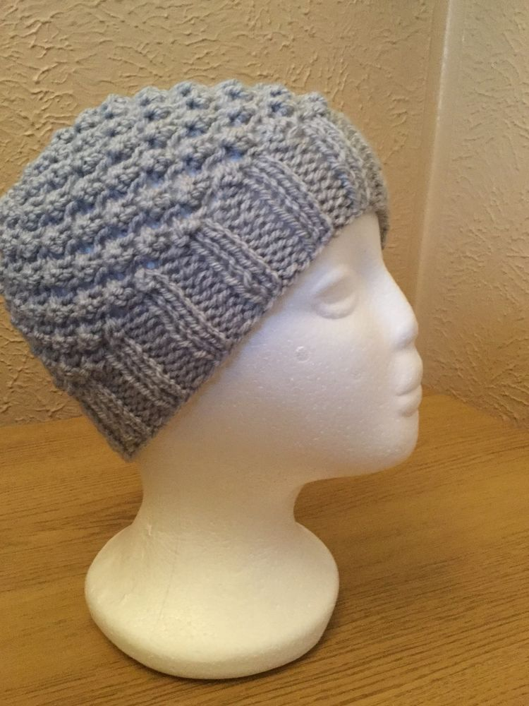 Ladies Silver Grey hand knitted Blackberry stitch beanie hat by Lily May  Croche 2dc0cb47220