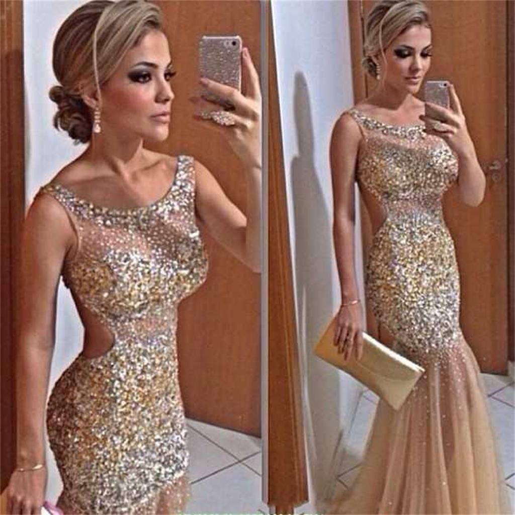 Long modest sparkle backless charming popular mermaid evening prom