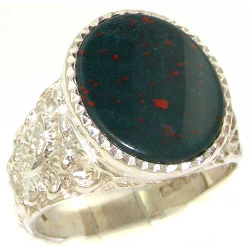 Z+4 Bloodstone Ring Men/'s Signet Gents Solid Sterling Silver Engagement Size P