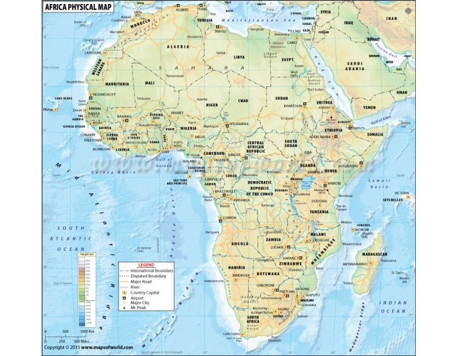 Buy Africa Physical Map with Countries Continents Map Pinterest