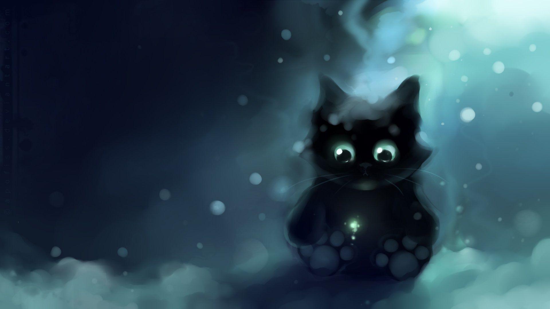 apofiss small black cat wallpaper watercolor illustrations #18