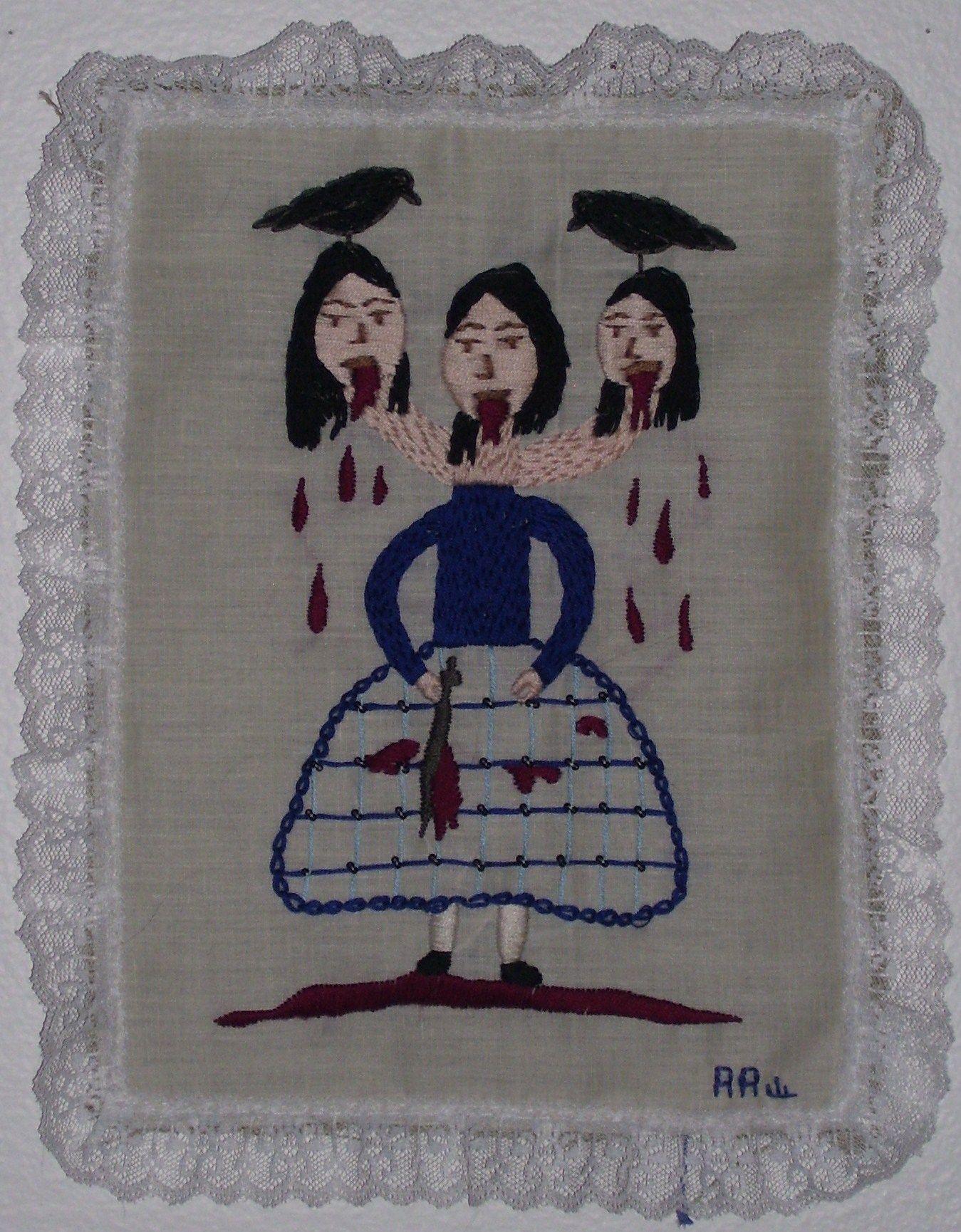 Morgaena, Annie Aube, 2007, Hand Embroidery on Cotton, www.annieaube.com
