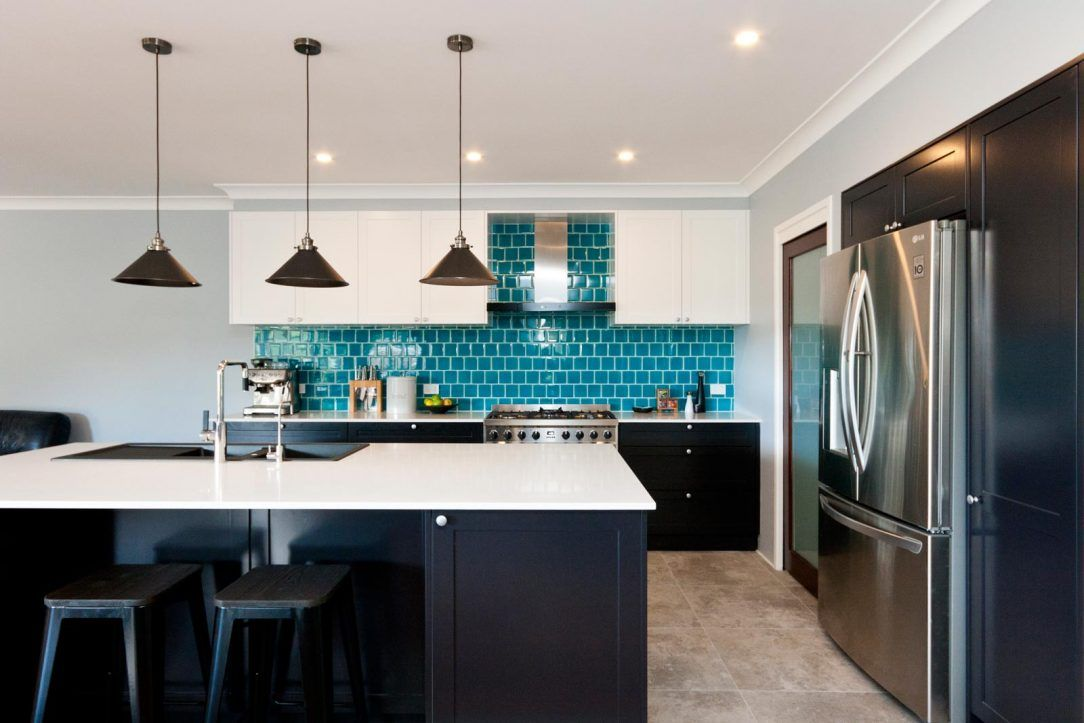 Modern Art Deco Kitchen Design After Renovation Black And White Polyurethane Joinery With Turquoi Kitchen Remodel Art Deco Kitchen Design Modern Kitchen Design