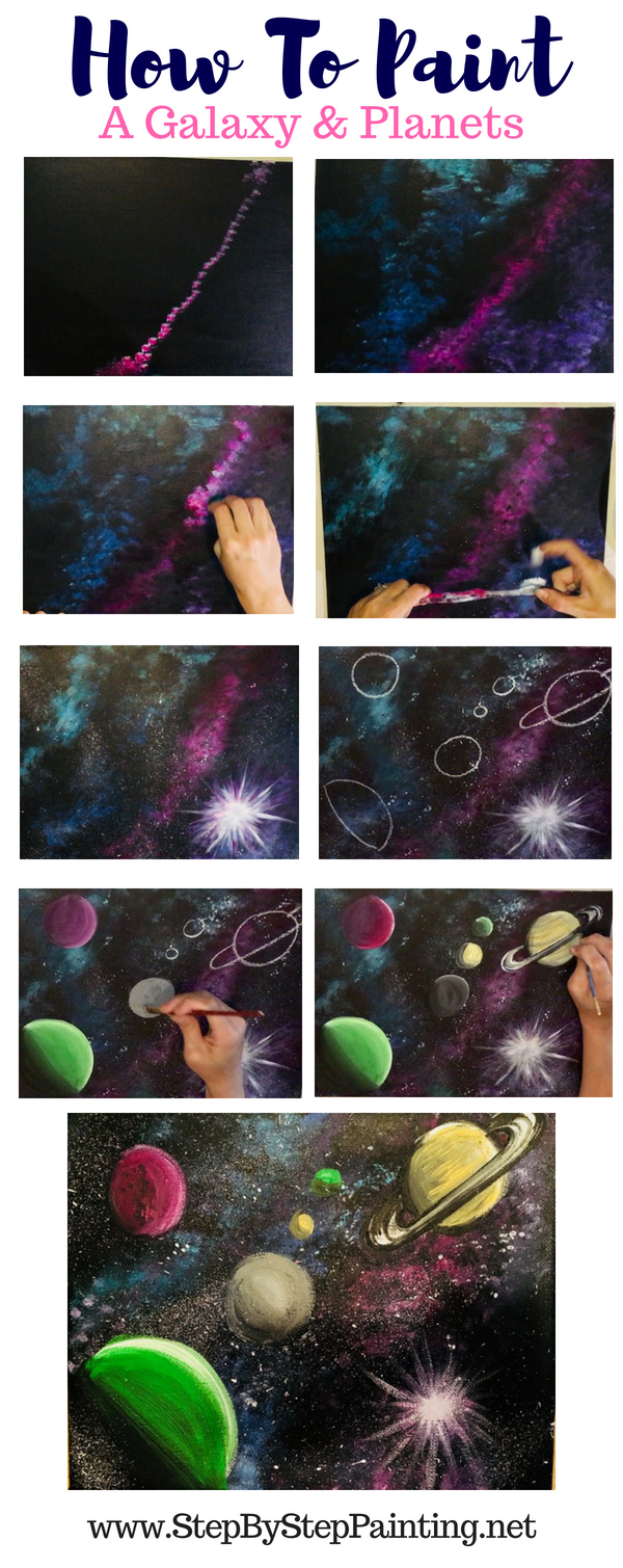How to paint a galaxy in acrylics how to paint planets in acrylics ...